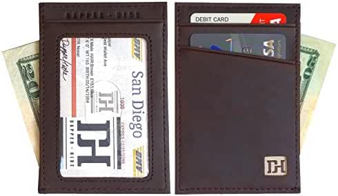 Men's Slim Leather Wallet - Minimalist Front Pocket Wallets For Men - ID Window, Gift Box