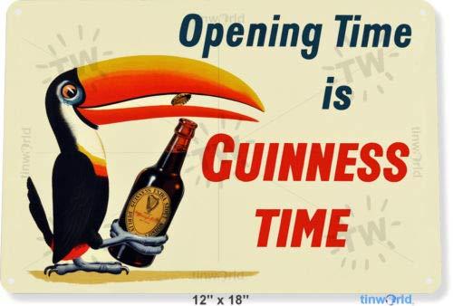 TIN Sign 8x12 inch Guinne Time Toucan Beer Liquor Germany Bar Pub Garden