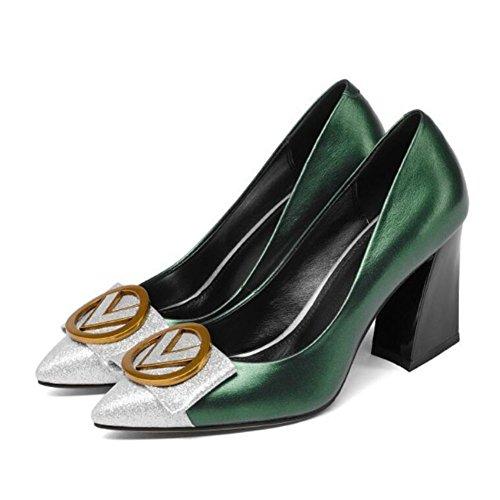 GAOLIXIA Mujeres de las señoras de tacones altos de primavera verano de cuero señaló la boca poco profunda Zapatos elegantes zapatos de trabajo zapatos de la corte Bombas de fiesta y banquetes Green