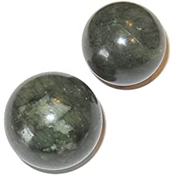 "Jade Ball 53 Set of 2 Healing Crystals Green Nephrite Financial Feng Shui Stones 1.3"" & 1.5"""