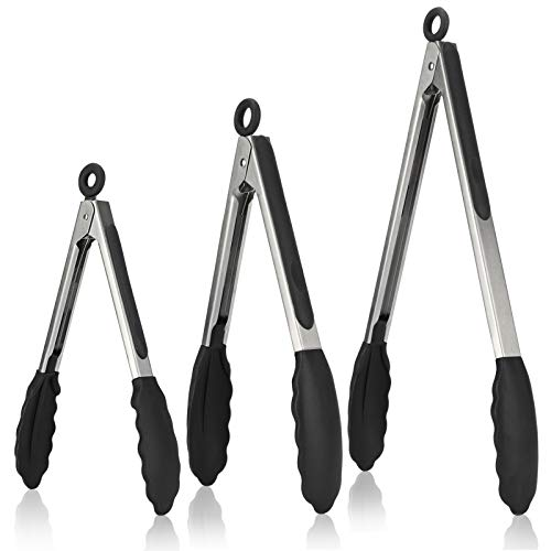 Kitchen Tongs, U-Taste 7/9/12 inches Cooking Tongs, with 600ºF High Heat-Resistant Non-Stick Silicone Tips, 18/8 Stainless Steel Handle, for Food Grill, Salad, BBQ, Frying, Serving, Pack of 3(Black)