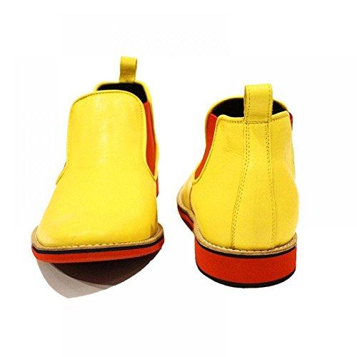 Modello Remo - Cuero Italiano Hecho A Mano Hombre Piel Amarillo Chelsea Botas Botines - Cuero Cuero suave - Ponerse