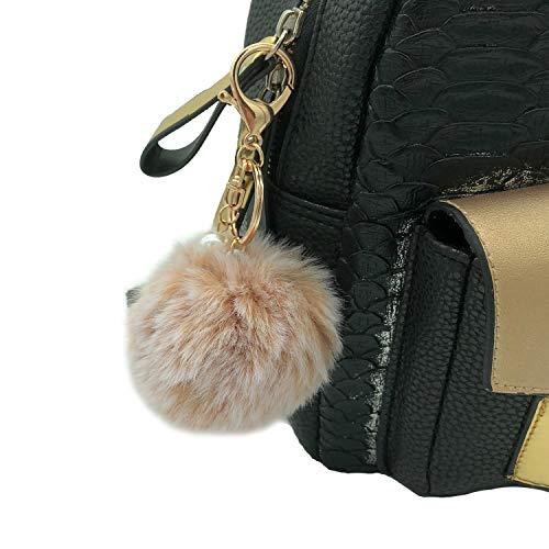 Pearl Brown Imitation (Pom Pom Keychain Fluffy Faux Fur Ball Handbag Pendant Backpack Keychain with an Pearl (Snow Brown))