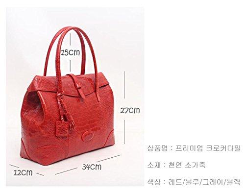 Fashion Crocodile Pattern Leather Shoulder Handbag 4 Color (Red) by PRISTINE&BB (Image #5)