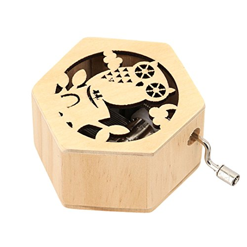 La moriposa Creative Engraved Wooden Musical Mechanism Music Box Wind-up Hand Crank Jewelry Box,Musical Toys(Owl) by La moriposa