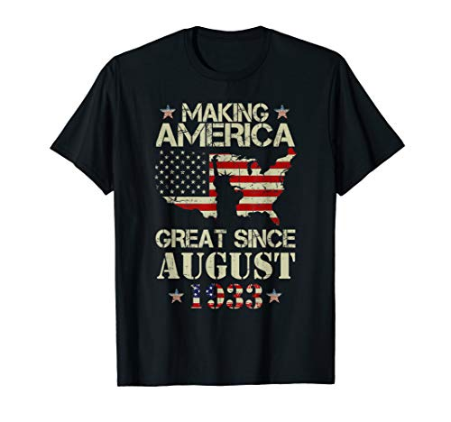 August 1933 86th 86 Years Old Birthday Tshirt Gift Ideas T-Shirt