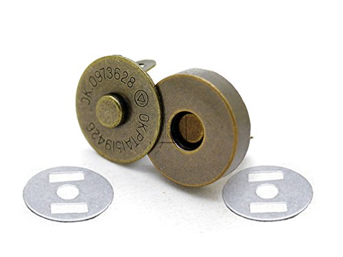 CRAFTMEmore Antique Brass Magnetic Button Quality Clasp Snaps for Purses Handbags Leather Fabric Sewing Craft Closures - No Tools Required Set of 10 (14mm (0.55
