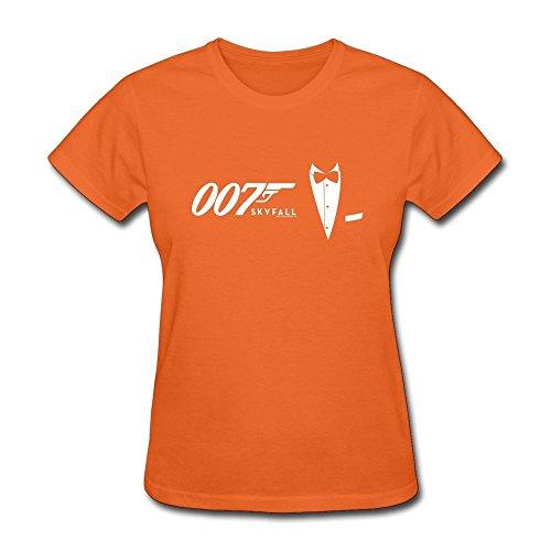 DASY Women's O Neck James Bond Tee Large Orange