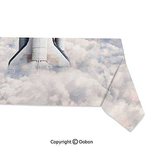 (Space Decorations Tablecloth, Rocket Taking Off on Mission Spaceman Planet Gazing Endeavour Power Fire Print, Rectangular Table Cover for Dining Room Kitchen, W60xL84 inch)