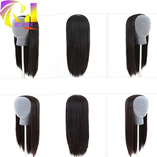 RJ Hair Brazilian Straight Human Hair Half Wig Glueless Virgin Hair 3/4 None Lace Wig (14inch)