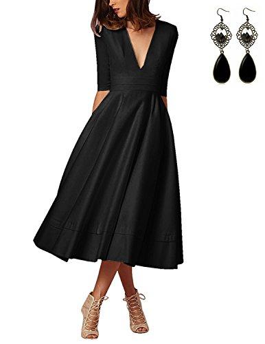 Sitengle Elegant Women Deep V Neck Long Evening Cocktail Dress Formal Banquet Wedding Bridesmaid Party Dresses Gown Plus Size,Black,Large