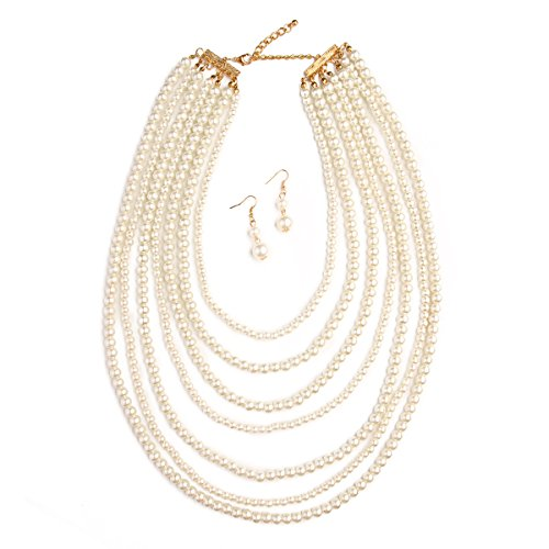 MYS Collection Women's Bubble Glass Pearl Strand Necklace Set (Cream)