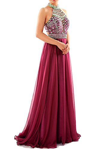 MACloth Women Halter High Neck Sleeveless Long Prom Party Dress Evening Gown Burgundy