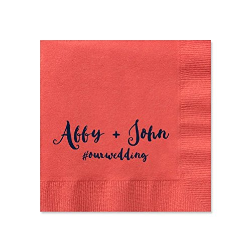 Personalized Coral Wedding Cocktail Napkins, set of 100