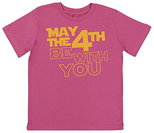 May The 4Th Be With You Unisex Kids T Shirt   Boys T Shirt   Girls T Shirt   Kids Top   Pink  5 6 Years