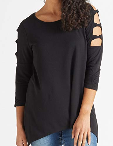 (AGB Deep Women's Small Cut Out 3/4 Sleeve Knit Top Black S)
