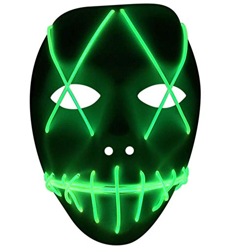 Nuoka Costume Halloween Horror Scary Cosplay Light Therap Led Mask (Lime Green)