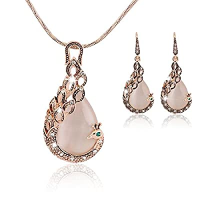 New KENFULTILE Crystal Peacock Jewelry Set Women Fashion Necklace Earring