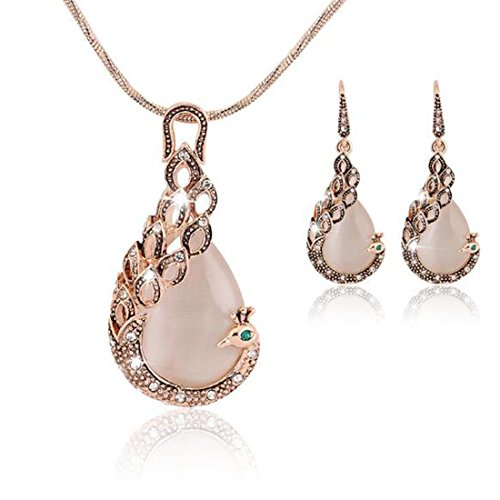 KENFULTILE Wedding Jewelry Set Crystal Peacock Opal Necklace Earring for Women Clavicle Chain Dangle Drop Chandelier Earring Mother Day (Necklaces Chandelier Chain Necklace)