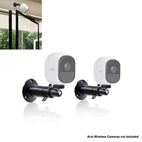 (2 pcs Black) 10cm Security Camera Wall Mounts for Arlo Camera Mount for Netgear Dropcam Arlo Q Pro HD GO CCTV Screw Wall Adjustable Swivel 360 Degree Outdoor Indoor Anti Theft Ceiling Mount By Sully