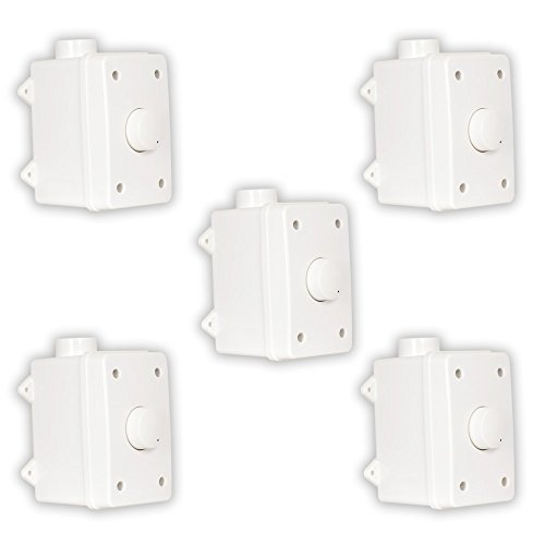 Theater Solutions OVCDW Outdoor Volume Controls White Weatherproof Dial 5 Control Set by Theater Solutions