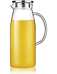 Artcome 60 Ounces Glass Iced Tea Pitcher with Stainless Steel Strainer Lid, Hot/Cold Water Jug, Juice Beverage Carafe