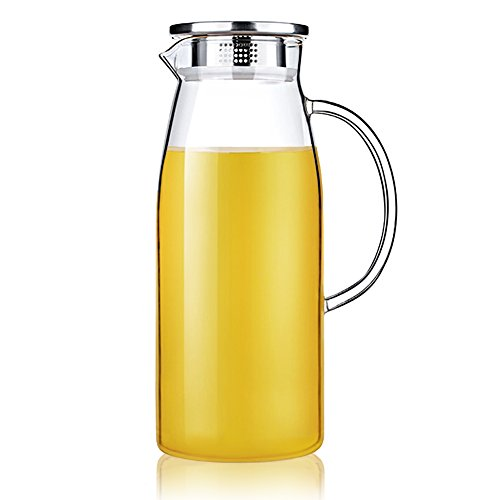Artcome 61 Ounces Glass Iced Tea Pitcher with Stainless Steel Strainer Lid, Hot/Cold Water Jug, Juice Beverage Carafe