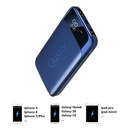 Quslly 20000mAh mobile or portable Charger X6 2 Port USB output strength Bank External Battery Packs for iPhone 7 7 Plus 6S Plus Samsung Galaxy S8 Note 8 iPad Tablets and Mor Blue External Battery Packs