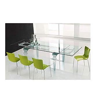 Table Salle A Manger Verre Cristal 150 210 90 75 Cm Amazon