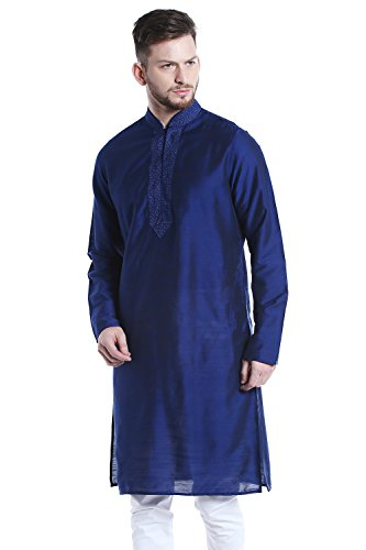 Shatranj Men's Indian Classic Collar Long Kurta Tunic With Embroidered Placket; Royal Blue; - Model Mens Indian