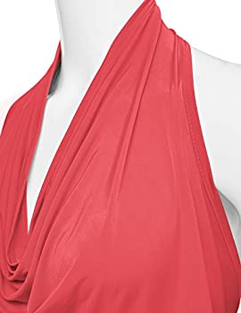 Ninexis Women's Halter Neck Draped Front Open Back Top Coral M 4