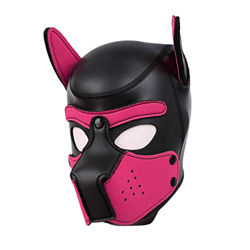 Full Face Leather - Raycity Leather Full Face Mask Dog Puppy Hood Removable Mouth Costume Party Cosplay Unisex (Black&Pink)