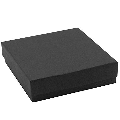 - 16 Pack Cotton Filled Matte Black Color Jewelry Gift and Retail Boxes 3.5 X 3.5 X 1 Inch Size by R J Displays
