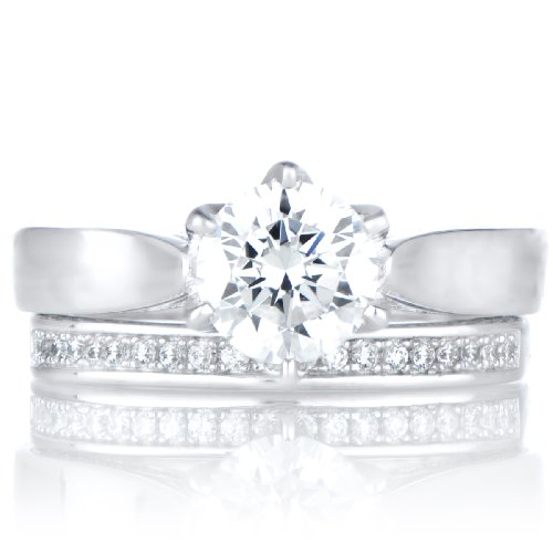 Symona's Silvertone 1.25ct Round Cut CZ Engagement Ring Set by Emitations.com