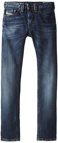 Diesel Big Boys' Thavar Slim Fit Skinny Leg 100% Cotton Stonewashed Denim, Indigo, 16Y
