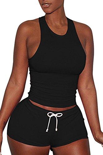 VamJump Women Outfit 2 Piece Set Sprots Gym Cotton Racerback Tank Top High Waist Shorts Black S