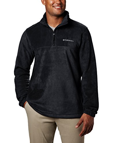 Columbia Men's Steens Mountain Half Zip Soft Fleece Jacket, Black, - Zip Quarter Mens Fleece