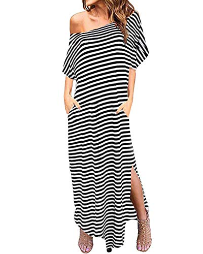 ZANZEA Women One Off Shoulder Maxi Dress Short Sleeve Split Stripe Kaftan Dress Stripe M