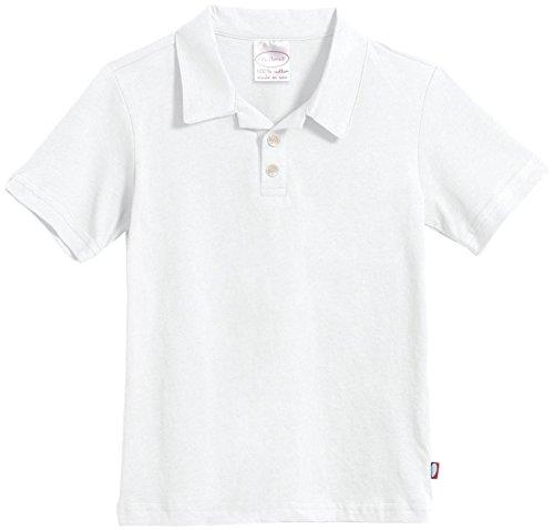 City Threads Boys Soft Jersey Short Sleeve 2-Button Polo Shirt, White,