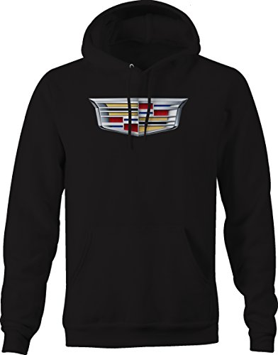 Cadillac Emblem Logo Hooded Sweatshirt Hooded Sweatshirt - XLarge Black