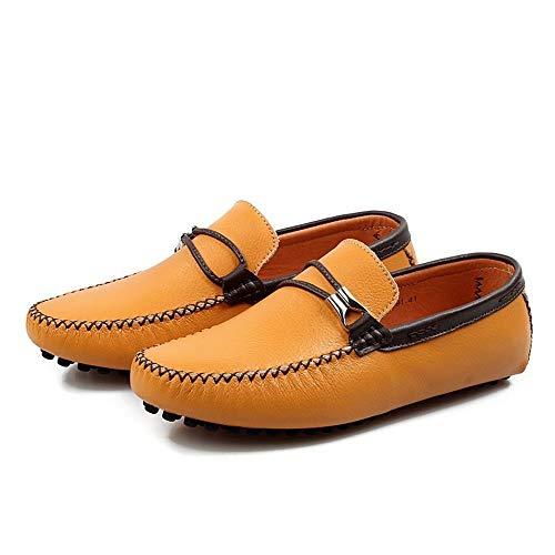 Liviano 24 gommino Negocios Zgsjbmh Diseño Suave Confortables 0cm gommino Amarillo tamaño De 27 Bajo Pisos Negro Moccasin Cuero amarillo Mocasín Genuino Corte 0cm Y Zapatos Único wntwTFYxq