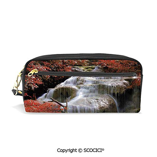 Printed Pencil Case Large Capacity Pen Bag Makeup Bag Waterfalls Flow Through Giant Rocks Surrounded by Fall Trees for School Office Work College Travel