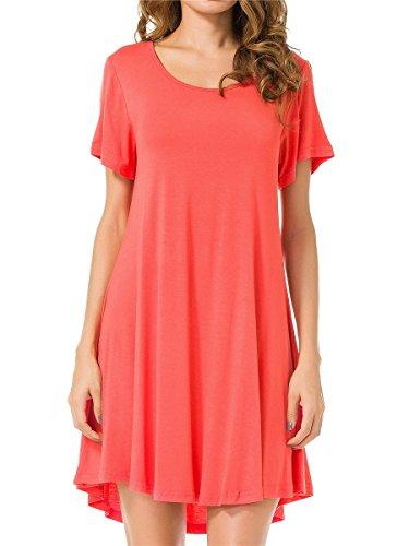 (JollieLovin Women's Tunic Top Casual Short Sleeve Swing Loose T-Shirt Dress (Watermelon, S))