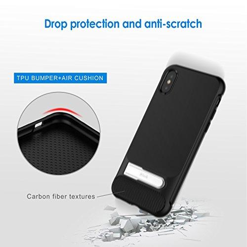 iPhone X Hülle, JETech Apple iPhone X Hülle Case Tasche Schutzhülle mit Metall Kickstand, Stoßdämpfung und Carbon Faser (Schwarz)