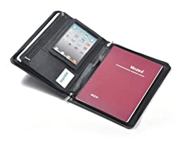 Genuine Leather Padfolio for iPad Mini 4, 11-inch MacBook and Paper, Black
