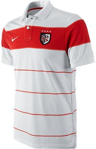 Nike Hombre Toulouse 11/12 GS Raya S/s Camiseta Rugby Polo Blanco ...