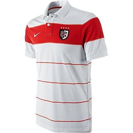Nike Hombre Toulouse 11/12 GS Raya S/s Camiseta Rugby Polo Blanco/