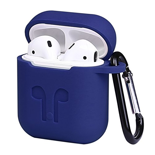 HDE Silicone Case for AirPods Protective Silicone Cover Skin for Apple AirPods Charging Case with Carabiner Keychain Belt Clip (Blue)