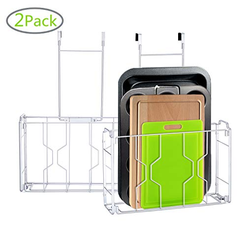 2 Pack- Simple Trending Over Cabinet Door Organizer Holder in Kitchen or Pantry for Cutting Board, Aluminum Foil, Cleaning Supplies, Mesh Silver, Silver (Over The Door Organizer Cabinet)