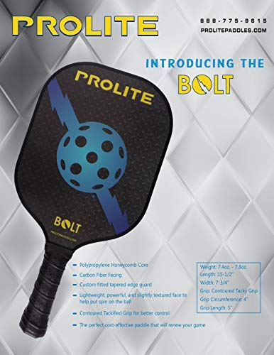 Amazon.com : Prolite Bolt Pickleball Paddle - Light Weight, Powerful, Textured Surface to Help Put Spin On The Ball - Polypropylene Honeycomb Core - Carbon ...
